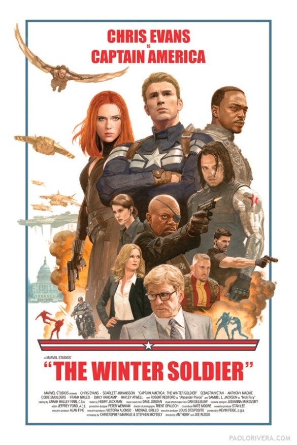 Captain America the Winter Solider (move retro poster by Paolo Rivera --http://paolorivera.blogspot.tw/